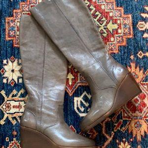Frye Leather Tall Shaft Wedge Boots-Emma Sz. 7.5